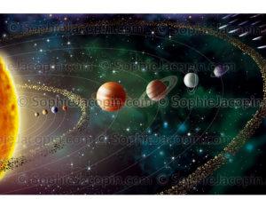 Le système solaire et ses huit planètes tournant autour du soleil - © Sophie Jacopin