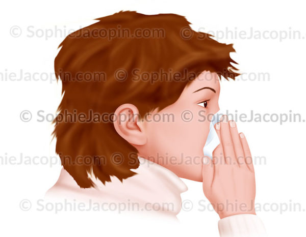 Enfant qui se mouche dans un mouchoir jetable - © sophie jacopin